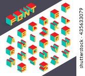 isometric 3d type font set.... | Shutterstock .eps vector #435633079