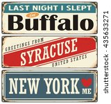 retro tin sign collection with... | Shutterstock .eps vector #435633271