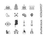 south korea icons set vector | Shutterstock .eps vector #435634957