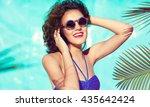 summer beach style portrait a... | Shutterstock . vector #435642424