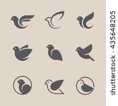 bird icons set. dove and pigeon ...   Shutterstock .eps vector #435648205