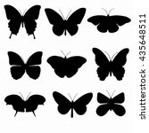 black silhouettes of butterflies | Shutterstock .eps vector #435648511