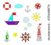 set of colored marine icons... | Shutterstock .eps vector #435648874