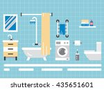 elements for bathroom interior. ... | Shutterstock .eps vector #435651601
