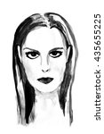 woman  ink drawing. fashion... | Shutterstock . vector #435655225