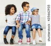 children kids casual offspring... | Shutterstock . vector #435662935