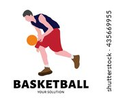 vector logo of a basketball... | Shutterstock .eps vector #435669955