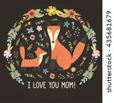 i love mom greeting card with a ...   Shutterstock .eps vector #435681679