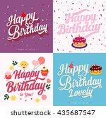 happy birthday typography ... | Shutterstock .eps vector #435687547