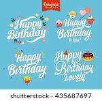 happy birthday lettering. four... | Shutterstock .eps vector #435687697