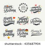 vintage happy birthday... | Shutterstock .eps vector #435687904