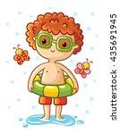 a cute little boy on the sea.... | Shutterstock .eps vector #435691945