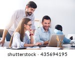 pleasant smiling colleagues...   Shutterstock . vector #435694195