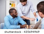 professional smiling colleagues ... | Shutterstock . vector #435694969