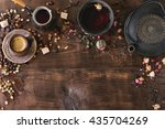 Stock photo food background tea and coffee theme different black and green dry tea different coffee beans 435704269