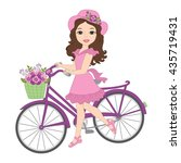 Vector Girl With Bicycle In...