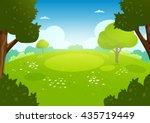 summer flat landscape. spring... | Shutterstock . vector #435719449