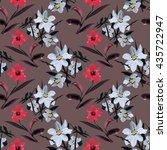 wild flowers seamless pattern... | Shutterstock . vector #435722947
