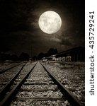 beautiful countryside railroad...   Shutterstock . vector #435729241