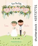 rustic wedding couple save the... | Shutterstock .eps vector #435737731