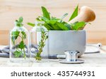 Small photo of Alternative health care concept. Fresh herbs green mint ,rosemary ,parsley ,sage and lemon thyme in laboratory glassware with stethoscope on wooden background.