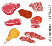 fresh and grilled beef steaks ... | Shutterstock .eps vector #435751177