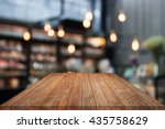 table top wood with coffee shop ... | Shutterstock . vector #435758629