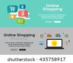flat line design  e commerce... | Shutterstock .eps vector #435758917