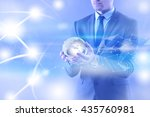 businessman holding earth in... | Shutterstock . vector #435760981