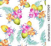 tropical orchid pattern | Shutterstock .eps vector #435775909