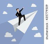 businessman on paper rocket.... | Shutterstock .eps vector #435779509