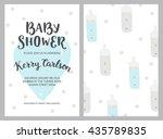 baby shower girl and boy... | Shutterstock .eps vector #435789835