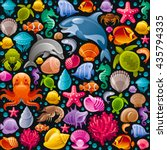 Sea travel seamless background with underwater diving animals. Dolphin, killer whale, starfish, coral, pearl, butterfly fish, tropical shells, sea horse, octopus, sea turtle and more marine icons