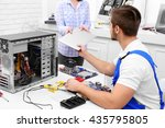 young repairer getting broken... | Shutterstock . vector #435795805