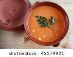 Andalusian gazpacho, a cold Spanish tomato-based raw vegetable soup. - stock photo