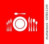 complete set of silverware for... | Shutterstock .eps vector #435811144