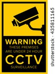 cctv warning sign | Shutterstock .eps vector #435811165