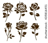 Stock vector  flower icon set of decorative rose silhouettes vector rose 435816451
