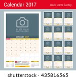 wall monthly calendar for 2017... | Shutterstock .eps vector #435816565