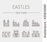 Castle Line Icons Set. Medieva...