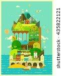 mediterranean island. tourist... | Shutterstock .eps vector #435822121
