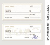 bank check template set. blank... | Shutterstock .eps vector #435823327