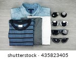 men fashion  set of clothes and ... | Shutterstock . vector #435823405