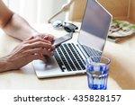 businessman using laptop and... | Shutterstock . vector #435828157