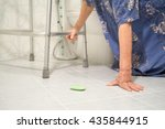 elderly woman falling in... | Shutterstock . vector #435844915