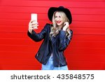 fashion hipster woman taking... | Shutterstock . vector #435848575