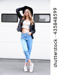 fashion hipster woman posing... | Shutterstock . vector #435848599