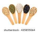cereal grains   seeds  beans on ... | Shutterstock . vector #435855064