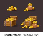 wooden chest set for game... | Shutterstock .eps vector #435861754