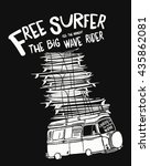 cartoon surf boards and bus... | Shutterstock .eps vector #435862081